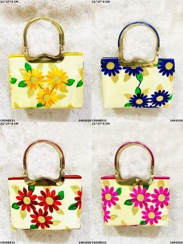 Raw Silk Trendy Ethnic Designer Hand Bag, Size: 27*4*21