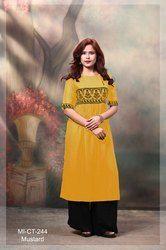 Woman Mustard Simple Kurti, Size: XL