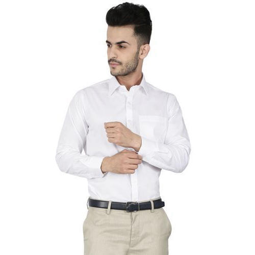 6044aef5bc5e Somet Men's White Cotton Slim Fit Formal Shirts, Packaging: Packet ...