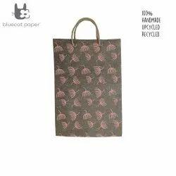 Linen Carry Bag (L) - peach dandelion print, jute rope handles