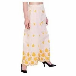 Cotton White And Yellow Floral Chikan Work Palazzo