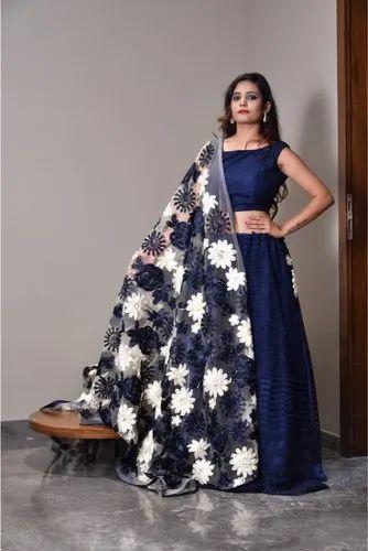 1fa9a10179f1 Net Blue And Off White Colour Designer Lehenga, Rs 10000 /pair | ID ...