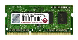 Transcend 2 GB DDR3-1333 MHz RAM, Memory Module for Laptop