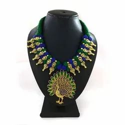 Meenakari Kolhapuri Peacock Pendent Fancy Necklace