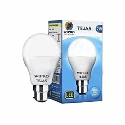 Round Cool Daylight Wipro Tejas 7W LED Bulb, Base Type: B22