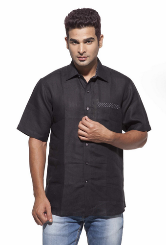 a77848301c36f3 Dennis Morton Black men' s black casual half sleeve linen shirt, Size: 39