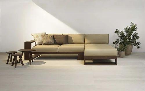 Hina Furniture Solid Wood Designer Corner L Shape Sofa Set