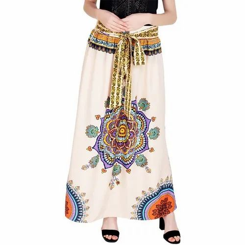 White Poly Cotton A-Line Long Skirt