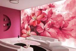 Multi Color Vinyl, Non Woven Flower Wallpaper For Living Room, Size: