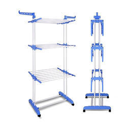 MS Steel Double Pole Cloth Drying Stand Laundry Hanger