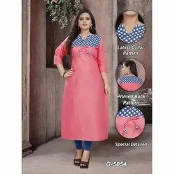 A-Line 3/4th Sleeve Ladies Pink Cotton Printed Kurti