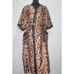 Vintage Silk Sari Long Kimono Bath Robe Maxi Gown Dress