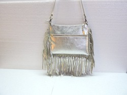 Fringe Silver Leather Designer Sling Bag