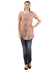 Red Ladies Printed Casual Tunic Top