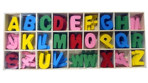Multi Colorful Wooden Alphabets Set 5 Pcs Each Size Letter Size