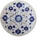 White Marble Inlay Designer Coffee Table Tops