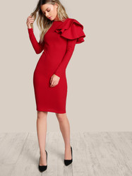 Shein One Side Tiered Ruffle Trim Dress