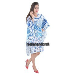 Indian Blue Flower Ombre Kaftan Mandala Women Dress
