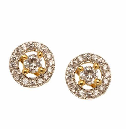 Bindhani Small Round Shape Stone Ear Stud Size Earringlength 1cm Earringwidth