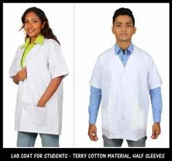 White Terry Cotton Lab Coat, For Hospital, Machine wash