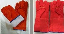 Full Finger Male Leather Hand Gloves For Industrial, Size: Large