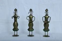 Pinnacle Iron Metal Lady Musician Brass Finished Set of 3 For Gift, For Home Decor And Showpiece