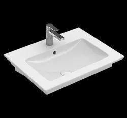 Rectangular Surface Mounted Ceramic White Wash Basin For Bathroom