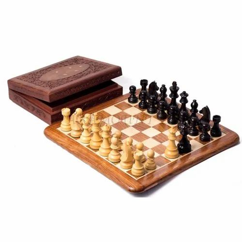 Wooden Chess Flat Board Game Set