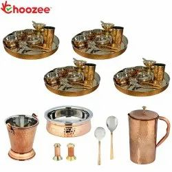 Choozee - Set of 4, Stainless Steel Copper Thali Set with Serveware & Hammered Copper Jug (47 Pcs)