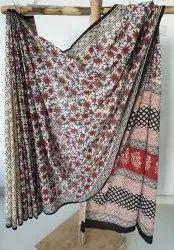 Bagru Hast Kala Printers Casual Wear Kalamkari Cotton Saree, 5.5 M (separate Blouse Piece), With Blouse Piece