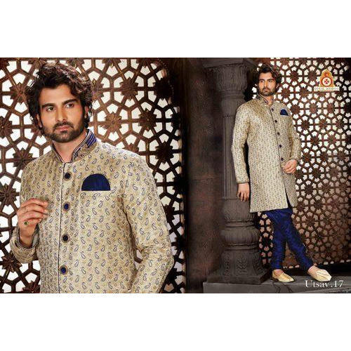 Cream Indo Wertern Designer Heavy Sherwani With Indowestern Bridges