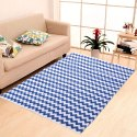 Wave Design Cosmorugs Blue And White Cotton Carpet, For Home, Size: 4x6 Feet