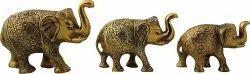 Trunk up Elephant Statues Set of 3 - Showpiece Metal Statue