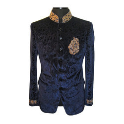 Velvet Navy Blue Mens Ethnic Wear