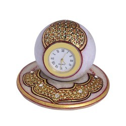 Marble Table Clock Miniature Work 4 Inch