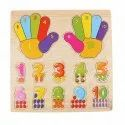 Kids Wooden Colorful Early Learning 1-10numbers With Counting Hands Educational Board For Kids With