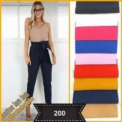 Cotton Stretchable Imported Pant, Ladies Cotton Pants, Women Knot Pant