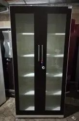 Shield Mild Steel Glass Door Storage Cabinet, Packaging Type: 2 Layered Packing, for Office