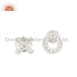 Fine Sterling Silver White Zircon Gemstone OX Font Stud Earrings