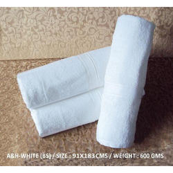 Cotton Plain White Bath Towel, Size: 16x24, 30x60x90x180