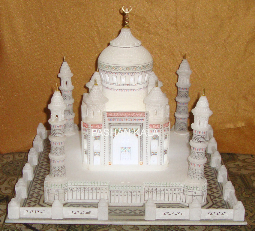 White Square Decorative Marble Taj Mahal With Lighting, for Home