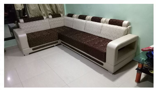 Brown And Cream Color L Shape Sofa