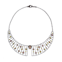 Pave Diamond, Sterling Silver And White Gold Collar Necklace