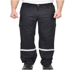 Men Safety Cotton Trouser with Reflective Tape (Black)