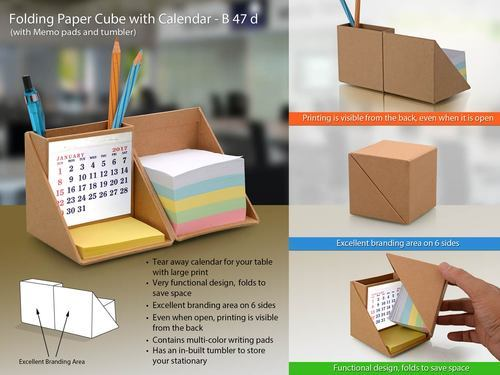 Eco-Friendly Folding Wooden Cube With Calendar (With Memopad And Tumbler)