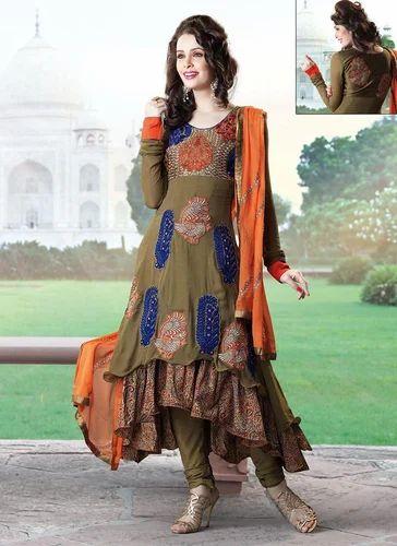 af5c229672 Crepe And Silk Stitched Designer Salwar Suits, Rs 3695 /piece | ID ...