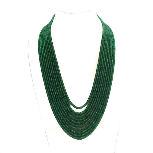 Emerald Button Faceted Beads