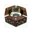 Brown Handmade Indian Wooden Ashtray