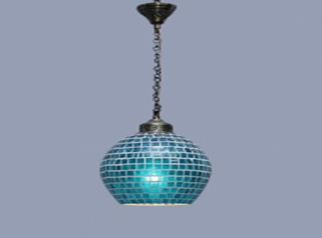 Cool White. Blue Glass Hanging Lamp