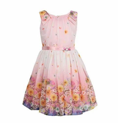 424351de0 Cute Cumber Girls Georgette Floral Printed Pink Dress at Rs 807 ...